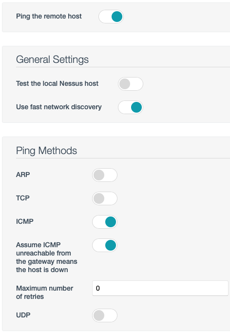 Discovery Settings TCP Ping Off